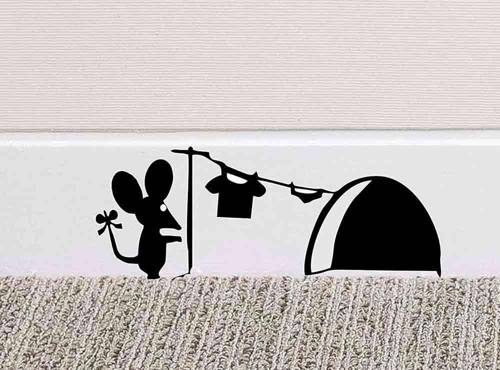 Sticker souris faisant son linge | Idée cadeau originale et insolite