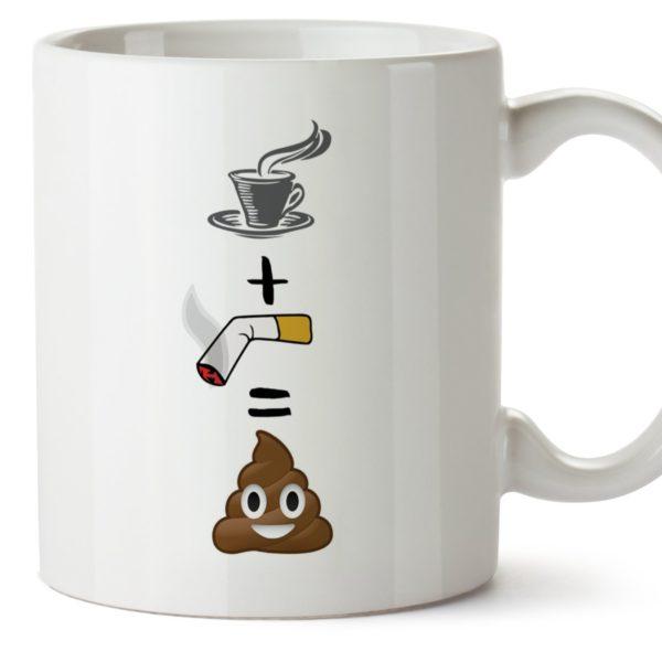 Tasse originale et amusante. Café + clope = caca | Idées cadeaux insolites