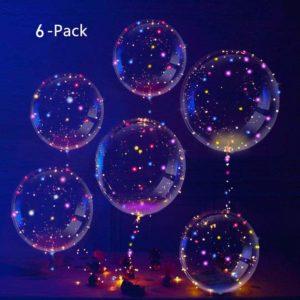 Kit de 6 pièces de ballons LED transparent | Idées cadeaux et déco insolites