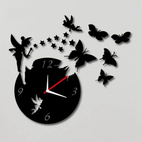 Horloge murale originale avec fée et papillons | Idées cadeaux insolites