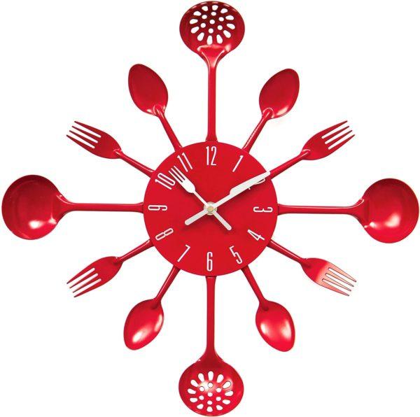 Horloge murale couverts de cuisine | Idées cadeaux insolites