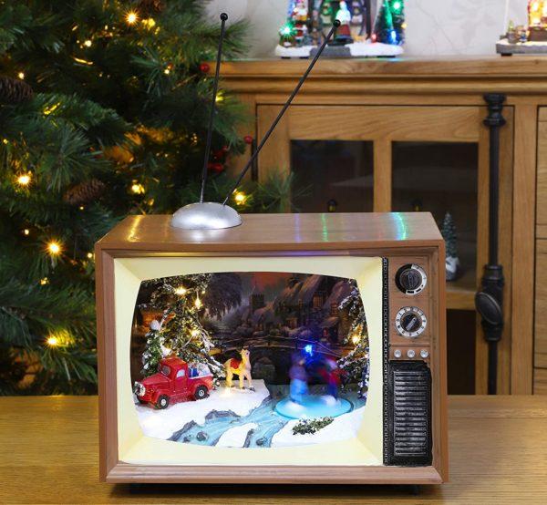 Scène de noël musicale dans un téléviseur rétro | Idées cadeaux déco insolites pour Noël