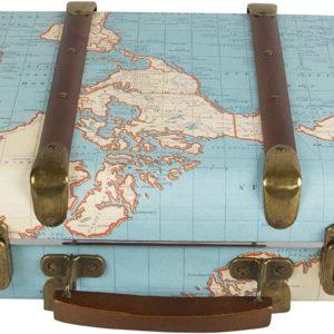 Valise Vintage Carte du Monde | Idées cadeaux insolites et vintage