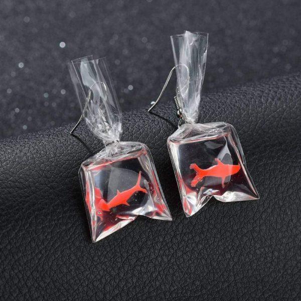 Boucles d'oreilles aquarium poisson rouge | Idées cadeaux insolites