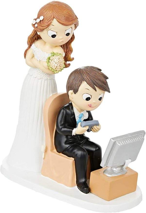 Figurine originale couple marié et jeux vidéos   Idées cadeaux insolites
