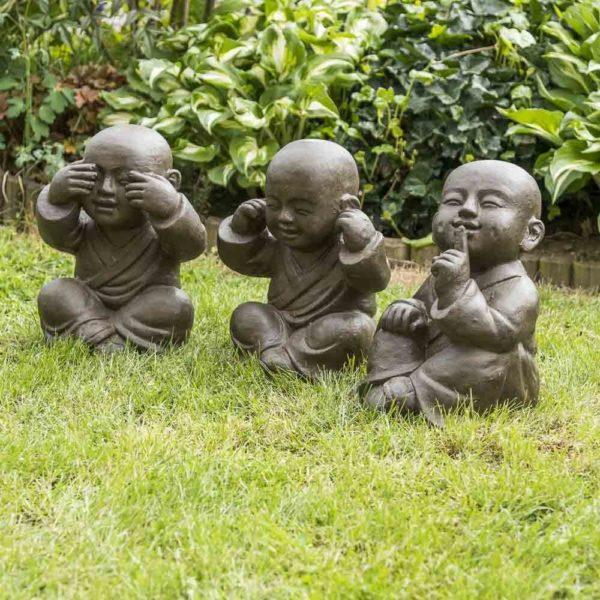 Statue moines bouddhistes sagesse pour jardin | Idées cadeaux insolites
