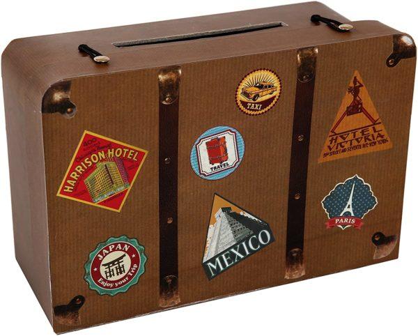 Tirelire en carton valise vintage | Idées cadeaux insolites