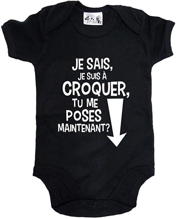 Body drôle pour bébé : Je sais que je suis à croquer, tu peux me poser maintenant ? | Idées cadeaux insolites