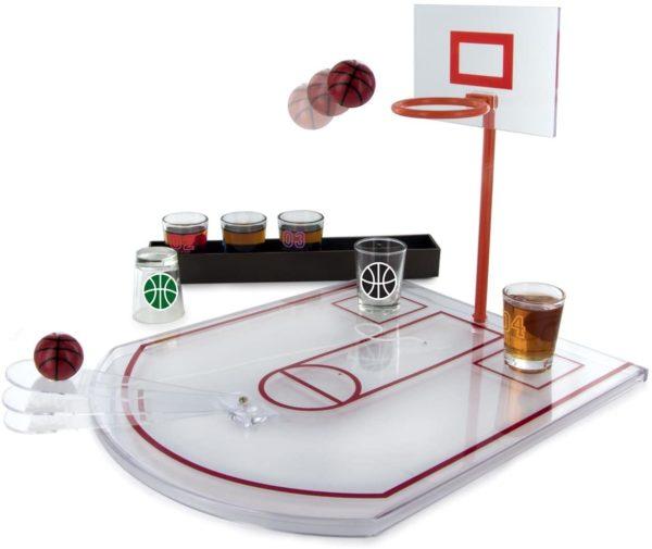 Jeu d'alcool panier de basketball et verres à shots | Idées cadeaux insolites