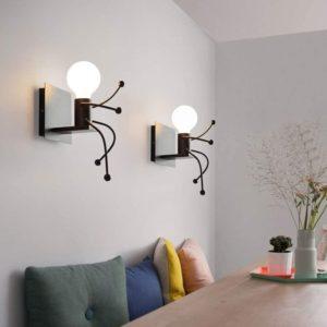 Lumière murale original en forme de bonhomme assis | Idées cadeaux insolites