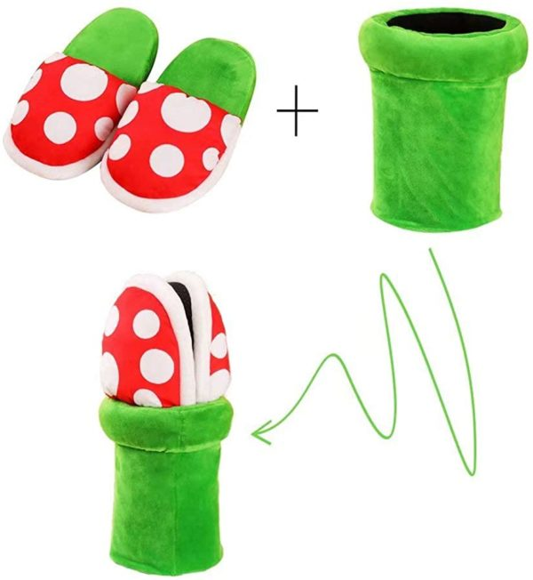Pantoufles Plante Piranha de l'univers Mario Bros | Idées cadeaux insolites