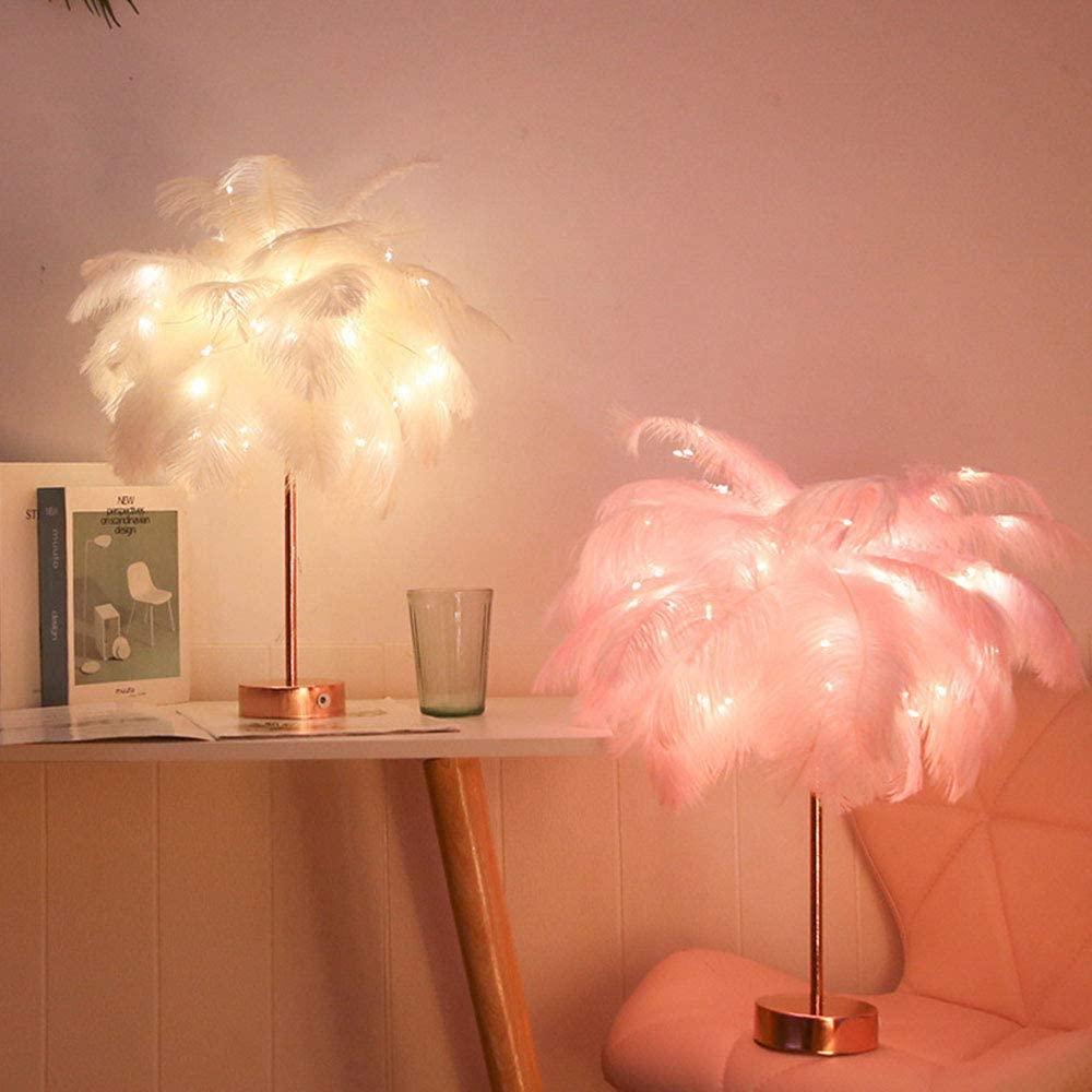 Lampe de chevet originale avec des plumes | Idées déco et cadeaux originales et insolites